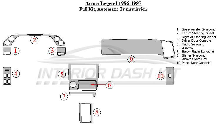 Acura Legend 1986-1987 Dash Trim Kit (Full Kit, Automatic Transmission)