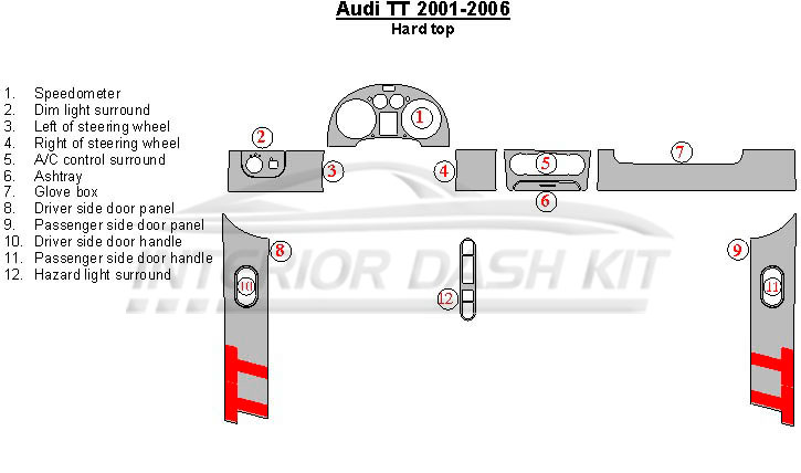 Audi A4 1999 2000 Dash Trim Kit Full Kit Manual Transmission in addition ShowAssembly as well Audi Tt 2001 2006 Dash Trim Kit Hard Top 12 Pcs further 2017 Subaru Outback Brochure moreover ShowAssembly. on 2014 audi q5 options