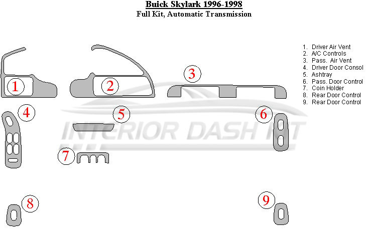 Buick       Skylark       1996   1998 Dash Trim Kit  Full Kit  Automatic