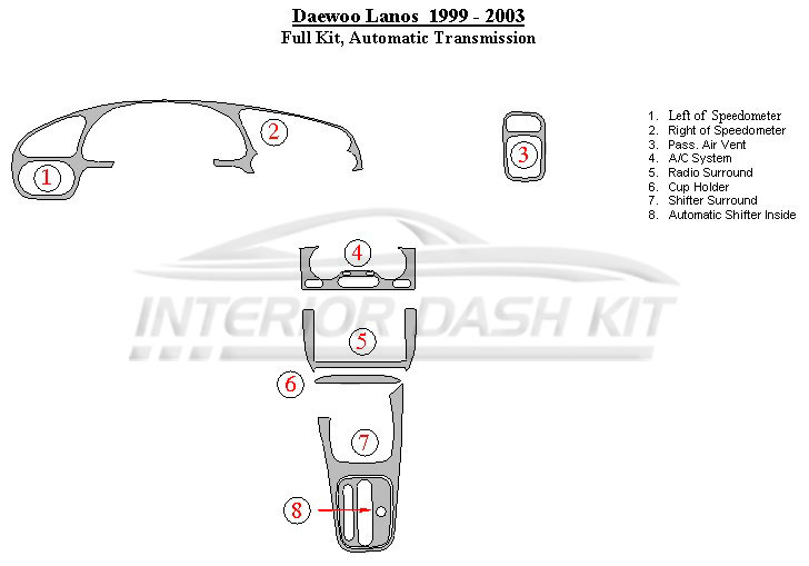 daewoo transmission diagrams daewoo wiring diagrams daewoo lanos 1999-2003 dash trim kit (full kit, automatic ...