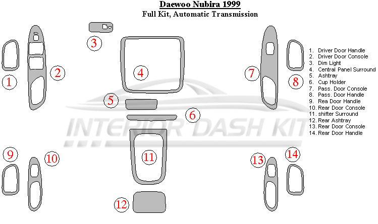 Daewoo       Nubira       1999    Dash Trim Kit  Full Kit  Automatic Transmission      Interior Dash Kit