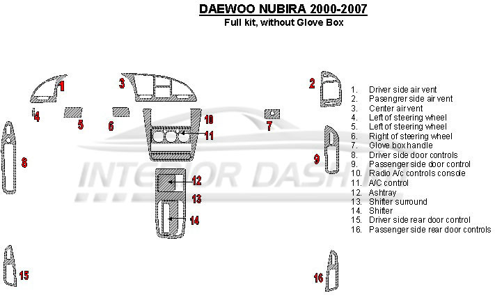 daewoo nubira 2000 2007 dash trim kit full kit without. Black Bedroom Furniture Sets. Home Design Ideas