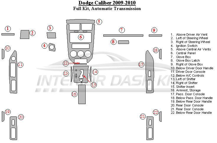 Dodge Caliber 2009 2010 Dash Trim Kit Full Kit Automatic Transmission Interior Dash Kit