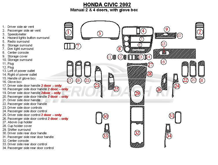 honda civic 2002 dash trim kit  manual  2 or 4 door  with