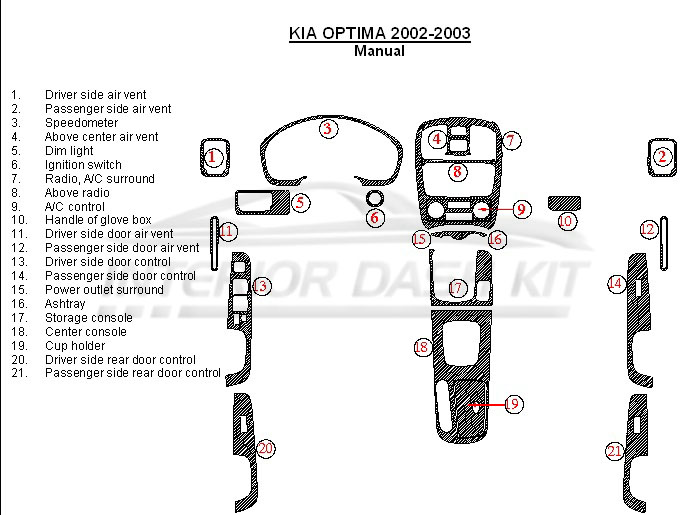 kia optima 2002 2003 dash trim kit manual interior. Black Bedroom Furniture Sets. Home Design Ideas