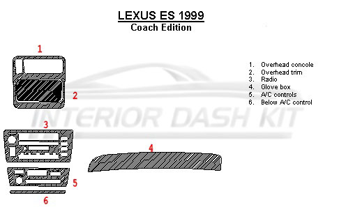 lexus es 1999 dash trim kit full kit coach edition match. Black Bedroom Furniture Sets. Home Design Ideas