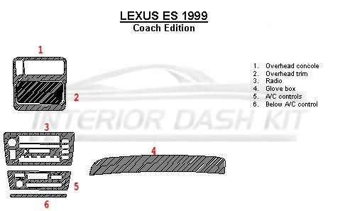 lexus es 1999 dash trim kit full kit coach edition match. Black Bedroom Furniture Sets. Home Design Ideas