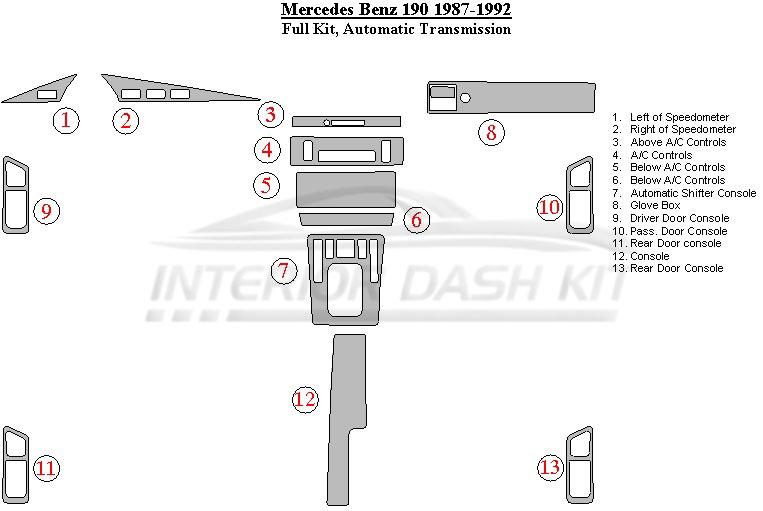 Mercedes benz interior dash kit for Mercedes benz upholstery kits