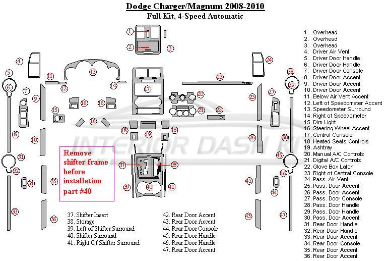 Dodge magnum 2008 2010 dash trim kit large kit - 2008 dodge charger interior trim ...