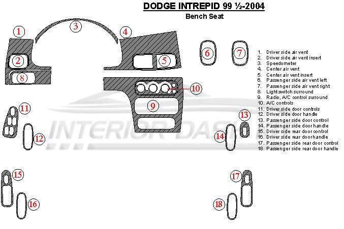 dodge intrepid 2000 2004 dash trim kit automatic. Black Bedroom Furniture Sets. Home Design Ideas