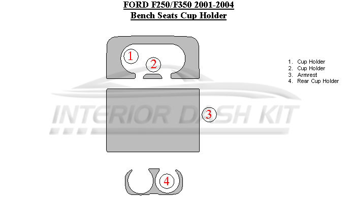 Astounding Ford F 250 350 2001 2004 Dash Trim Kit Bench Seats Cup Holder Pabps2019 Chair Design Images Pabps2019Com