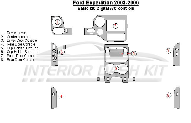 Ford expedition 2003 2006 dash trim kit basic kit digital ac control interior dash kit for 2006 ford expedition interior parts