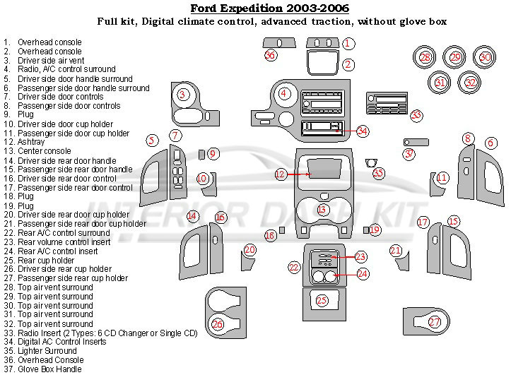 Ford expedition 2003 2006 dash trim kit full kit digital a c control with traction control for 2006 ford expedition interior parts