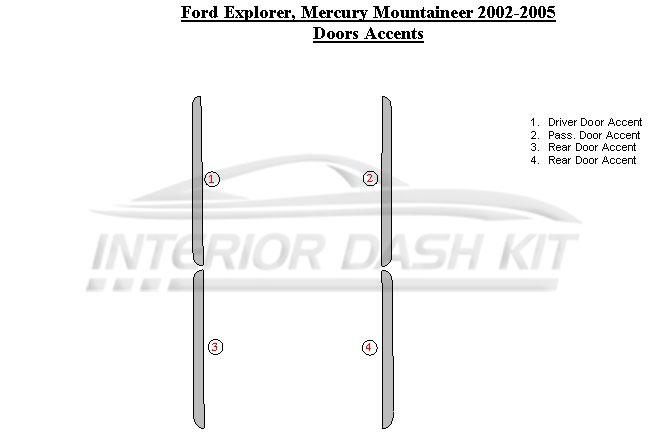 Ford Explorer 2002 2005 Dash Trim Kit Door Accent Interior Dash Kit