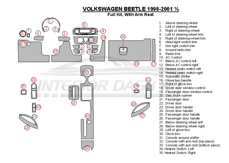 Volkswagen Beetle 1998 2001 Dash Trim Kit Full Kit With Armrest 33 Pcs Interior Dash Kit