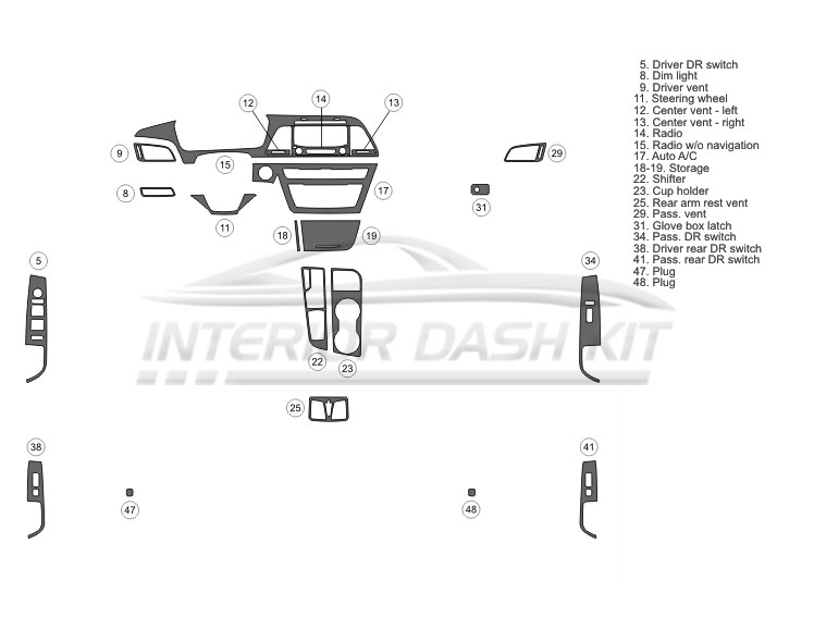 Hyundai Sonata 2015 2017 Dash Trim Kit Basic Kit 4 Dr Fits Without Navigation With Digital Climate Control 21 Pcs
